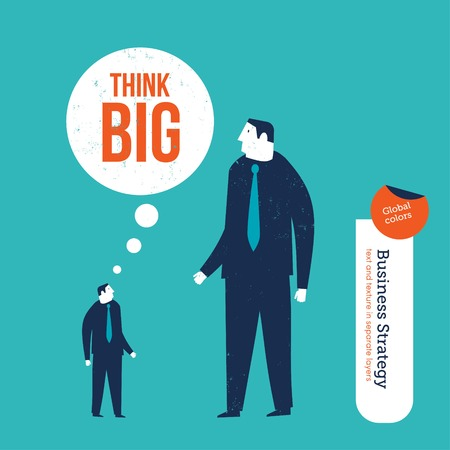 coordinating: Small entrepreneur conquering a giant thinking big. Vector illustration Eps10 file. Global colors. Text and Texture in separate layers.