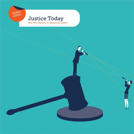 honesty: Businessman standing on a hammer of justice with spyglass looking at a businesswoman. Vector illustration Eps10 file. Global colors. Text and Texture in separate layers.