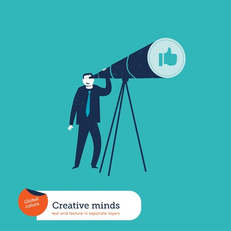 Businessman with telescope watching an I like hand. Vector illustration Eps10 file. Global colors. Text and Texture in separate layers.