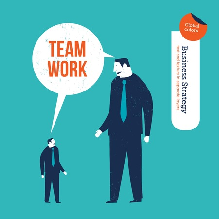 Small businessman and big businessman saying team work