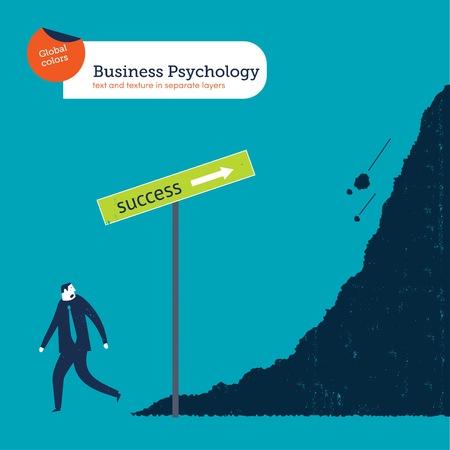 Businessman leaving the path of success Ilustrace
