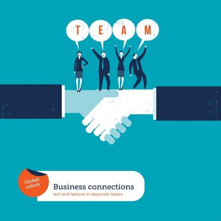 Apretón de manos con empresarios diciendo equipo