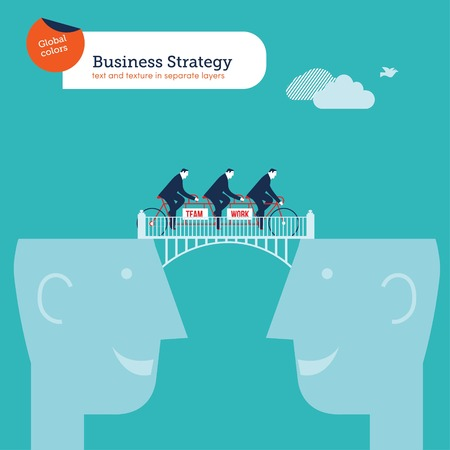 Tandem bike with businessmen crossing from head to head teamwork Illustration