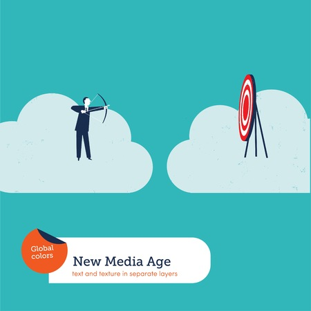 Businessman with arch and target on a cloud