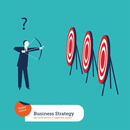 Businessman with arch and many targets Ilustrace