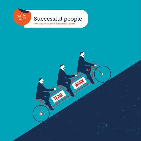 Businessmen on a tandem bike uphill