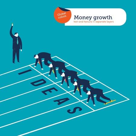 Businessmen runners on an ideas athletics track Ilustrace
