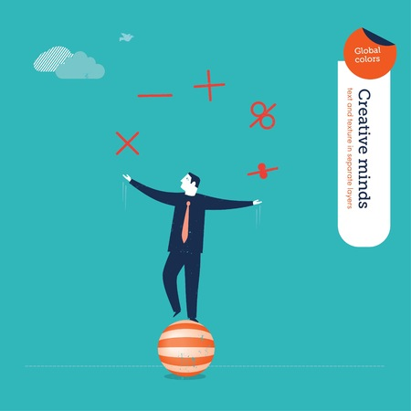Businessman juggler with mathematical functions Ilustrace