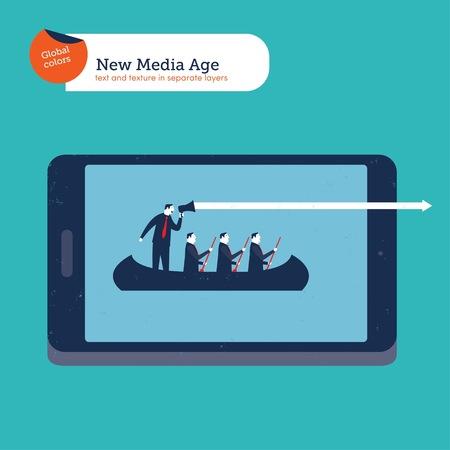 Businessmen on a boat with coach on an tablet Reklamní fotografie - 123329503