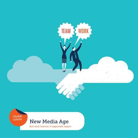Businessman and businesswoman on a cloud handshake teamwork Illustration