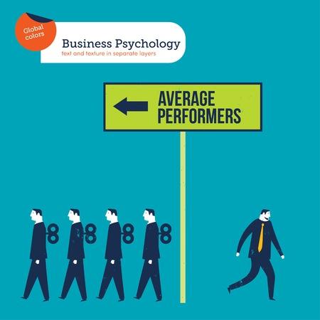 Businessman going against the average performers businessmen Reklamní fotografie - 123329327