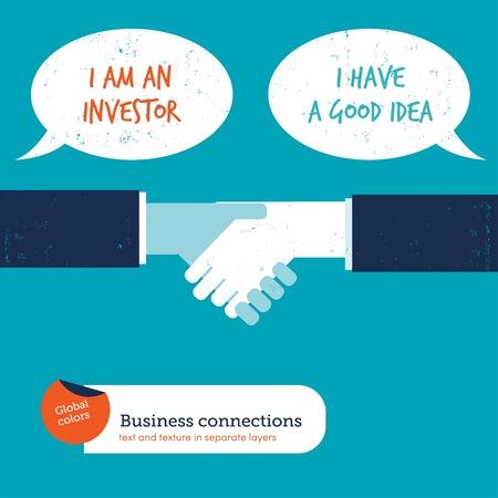 Handshake with speech bubbles investor creator Reklamní fotografie - 123329331