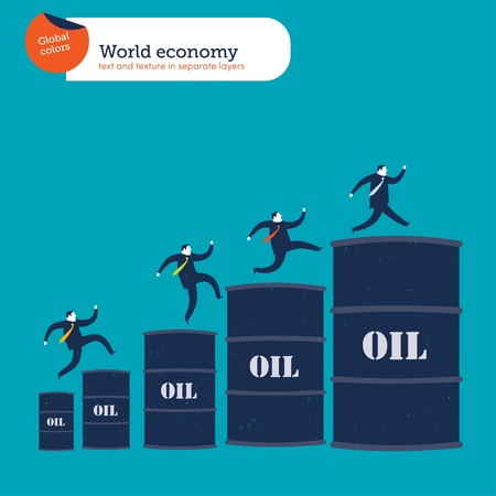 Businessmen climbing up an oil barrel's char Banque d'images - 123329330