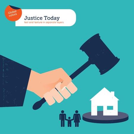 Der Hammer der Gerechtigkeit wird das Haus einer Familie zerstören