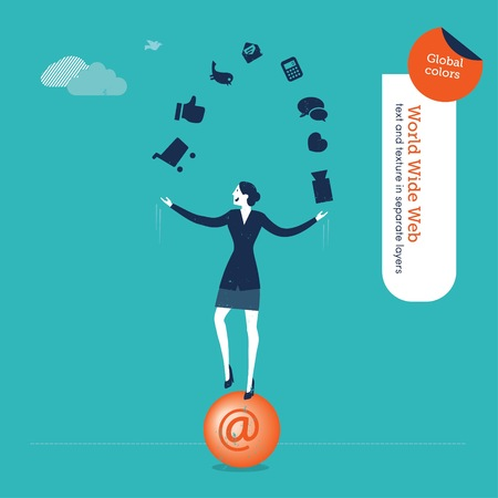 Businesswoman juggler with internet icons