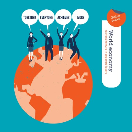 classified ad: Group of people saying together everyone achieves more. Vector illustration Eps10 file. Global colors. Text and Texture in separate layers. Illustration