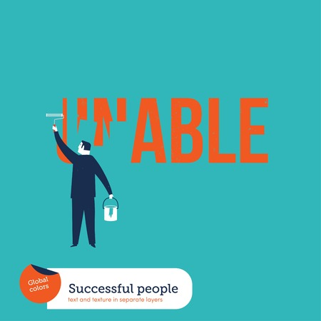 unable: Businessman painting the word unable. Vector illustration Eps10 file. Global colors. Text and Texture in separate layers.