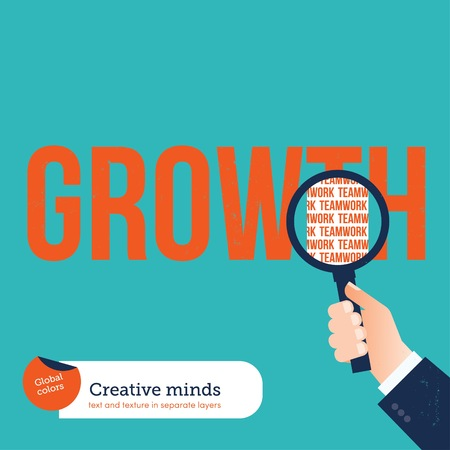 analyzing: Businessman analyzing with a loupe the word growth teamwork. Vector illustration Eps10 file. Global colors. Text and Texture in separate layers. Illustration
