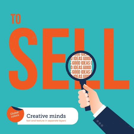 enigma: Businessman analyzing with a loupe the word sell good ideas. Vector illustration Eps10 file. Global colors. Text and Texture in separate layers.