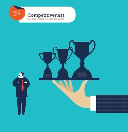 competitividad: Ofreciendo mano un hombre de negocios trofeos y él no está interesado. Vectores
