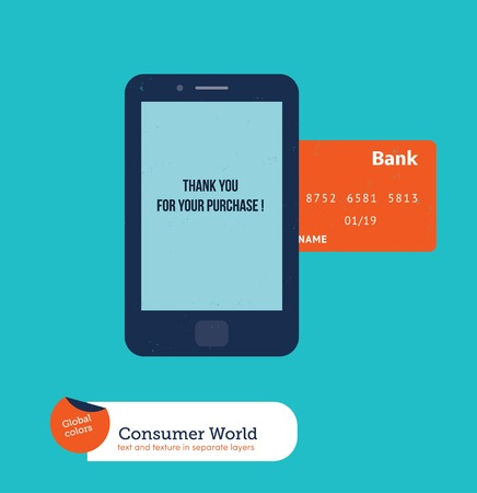 easy: Cell phone with credit card shopping online.  Illustration