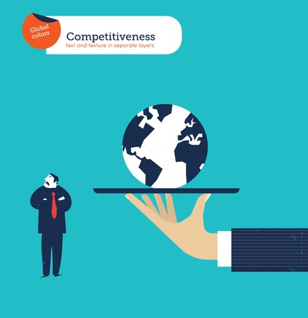 competitiveness: Hand offering a businessman the whole world he isnt  interested.
