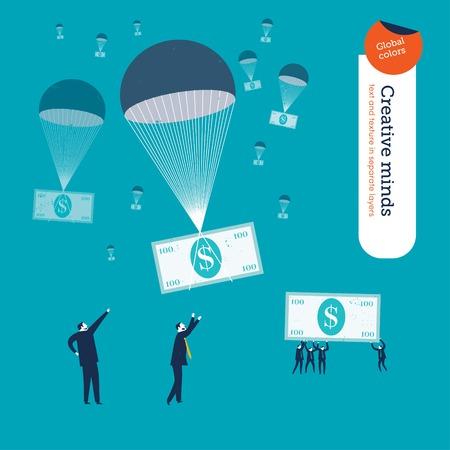 fallschirm: Geld fallen in Fallschirme und Geschäftsleute auf sie warten. Vektor-Illustration EPS10 Datei. Globale Farben. Text und Textur in separaten Ebenen.