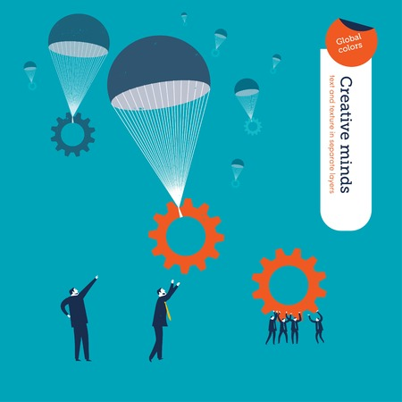 professional: Gears falling in parachutes and businessmen waiting for them. Vector illustration. Global colors. Text and Texture in separate layers.
