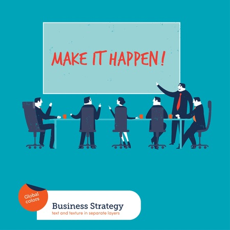 business teamwork: Business meeting with chart make it happen. Vector illustration. Global colors. Text and Texture in separate layers.
