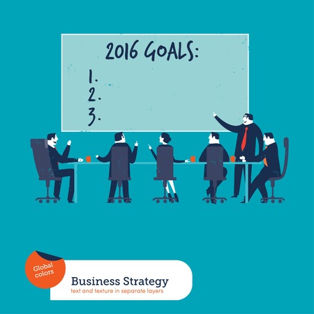 teamwork cartoon: Business meeting with goals of year 2016. Vector illustration. Global colors. Text and Texture in separate layers. Illustration