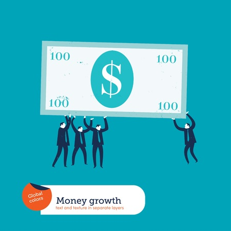 classified ad: Businesspeople carrying a dollar bill.Vector illustration . Global colors. Text and Texture in separate layer