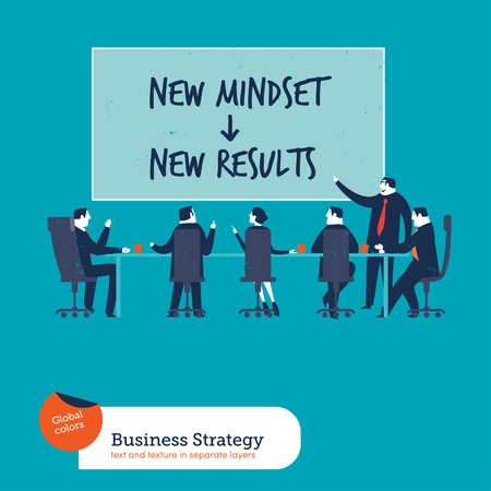 business strategy: Business meeting with chart new mindset new results. Vector illustration . Global colors. Text and Texture in separate layers. Illustration