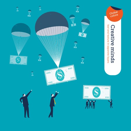 thrill: Money falling in parachutes and businessmen waiting for them. Vector illustration. Global colors. Text and Texture in separate layers. Illustration