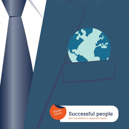 decides: Businessman with the world in his pocket. Vector illustration Eps10 file. Global colors. Text and Texture in separate layers.