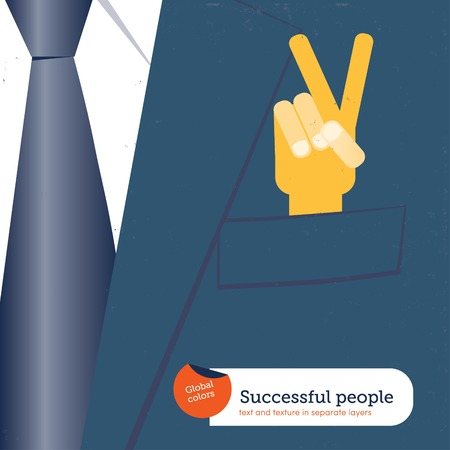 decides: Businessman offering a peaceful solution. Vector illustration. Global colors. Text and Texture in separate layers.