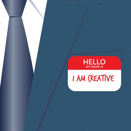 decides: Businessman with hello card I am creative. Vector illustration. Global colors. Text and Texture in separate layers.