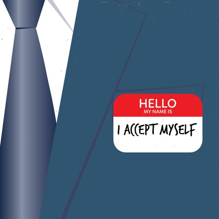 decides: Businessman with hello card I accept myself. Vector illustration . Global colors. Text and Texture in separate layers.