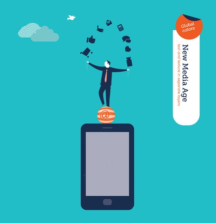 challenge: Businessman juggling with internet icons on a smartphone. Vector illustration . Global colors. Text and Texture in separate layers. Illustration