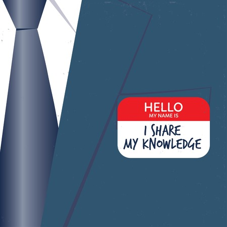 Businessman with hello card I share my knowledge. Vector illustration . Global colors. Text and Texture in separate layers.