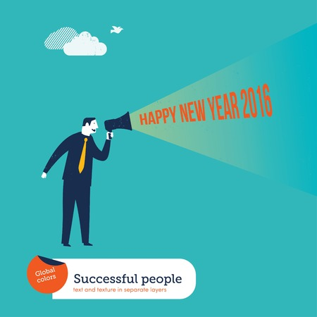 Businessman with megaphone happy new year 2016. Vector illustration Eps10 file. Global colors. Text and Texture in separate layers. Illustration
