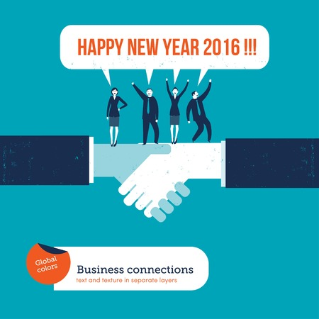 partnership strategy: Handshake with businesspeople saying happy new year 2016. Vector illustration Eps10 file. Global colors. Text and Texture in separate layers.