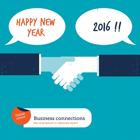 compromise: Handshake with speech bubbles happy new year 2016. Vector illustration Eps10 file. Global colors. Text and Texture in separate layers.
