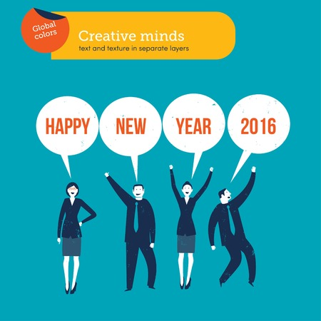 digitally generated image: Businesspeople saying happy new year 2016.