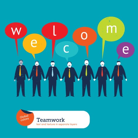 cooperating: Businesspeople saying welcome. Vector illustration Eps10 file. Global colors. Text and Texture in separate layers. Illustration