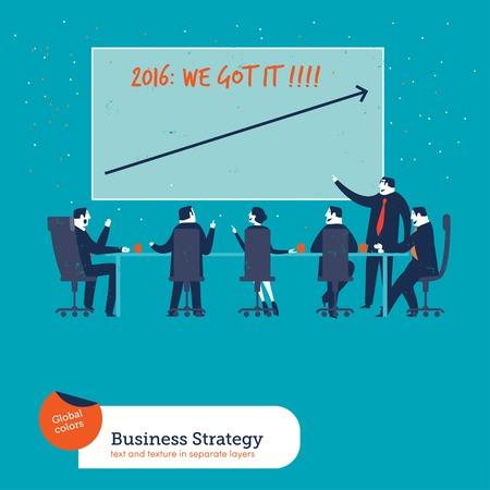 reuniones empresariales: Reuni�n de negocios lo conseguimos nuevo a�o 2016. Ilustraci�n del vector EPS10 archivo. Mundial de colores. El texto y la textura en capas separadas. Vectores