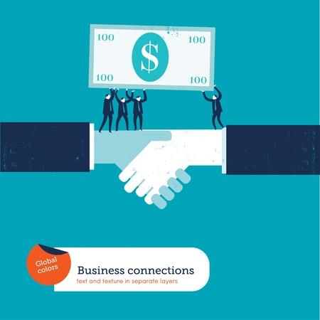 apreton de manos: Apretón de manos con empresarios que lleva un billete de 100 dólares. ilustración vectorial EPS10 archivo. Mundial de colores. El texto y la textura en capas separadas.