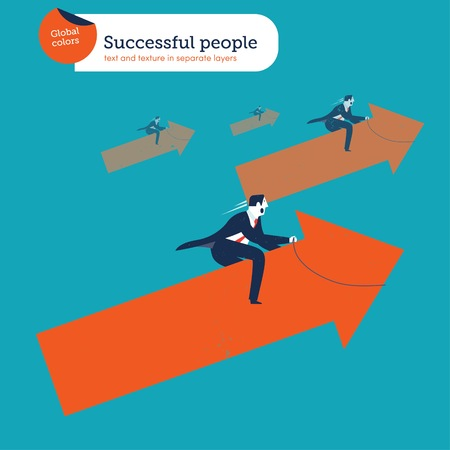 positivism: Businessmen riding an arrow upwards. Vector illustration Eps10 file. Global colors. Text and Texture in separate layers.