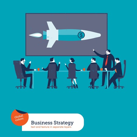 boardroom meeting: Rocket Strategy. Vector illustration Eps10 file. Global colors. Text and Texture in separate layers.
