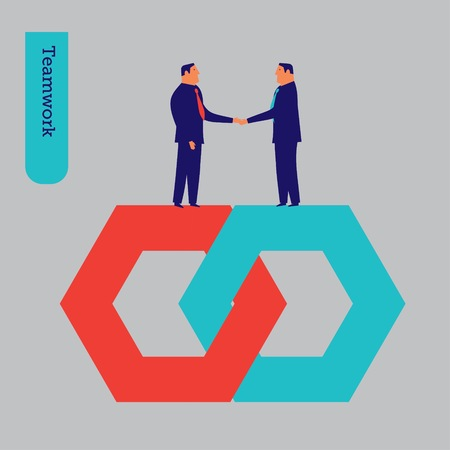 businessteam: Businessmen shaking hands teamwork. Vector illustration Eps10 file. Global colors. Text and Texture in separate layers.