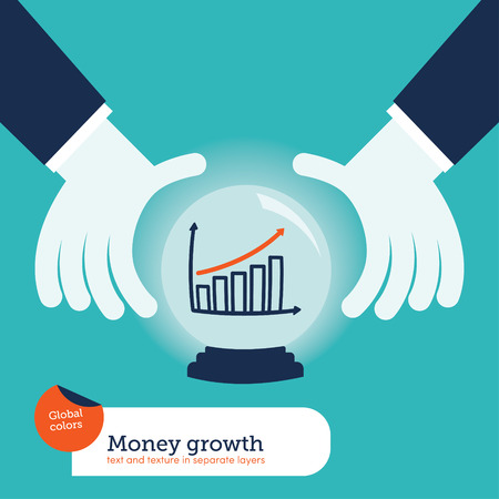 Businessman asking a crystal ball with charts, concepts and finance, illustration vector